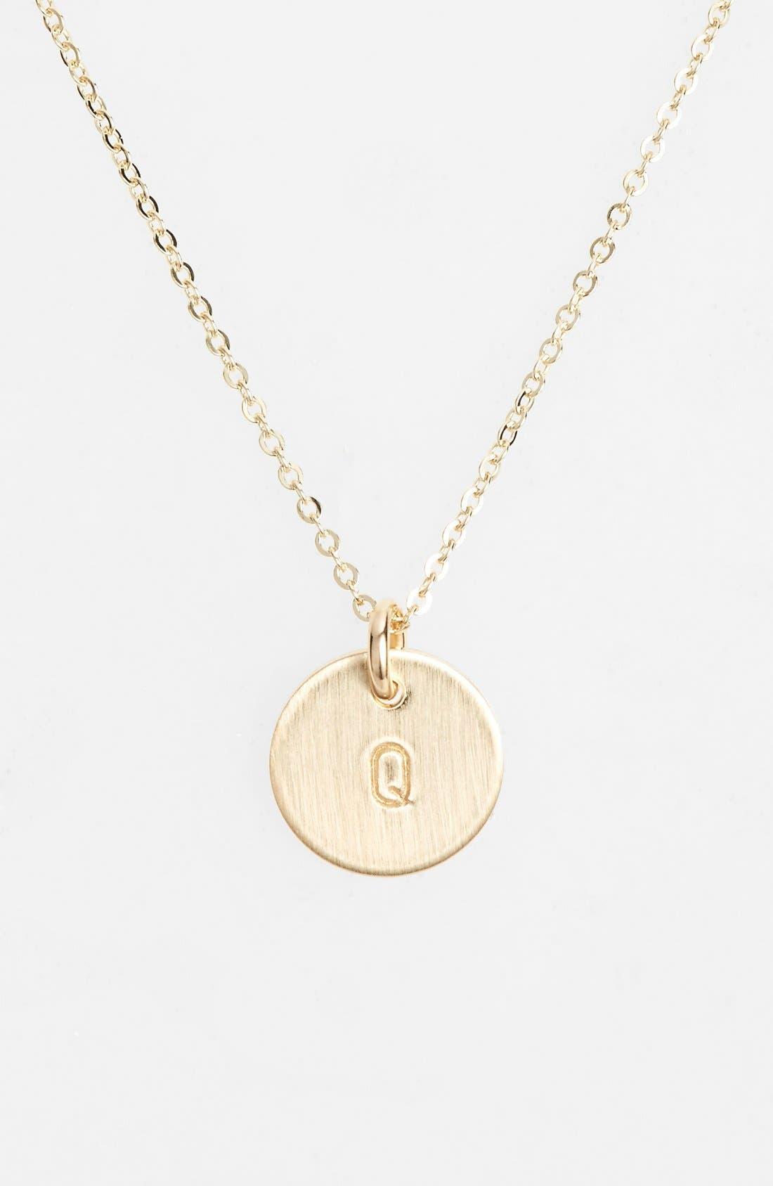 14k-Gold Fill Initial Mini Circle Necklace,                             Main thumbnail 1, color,                             14K Gold Fill Q