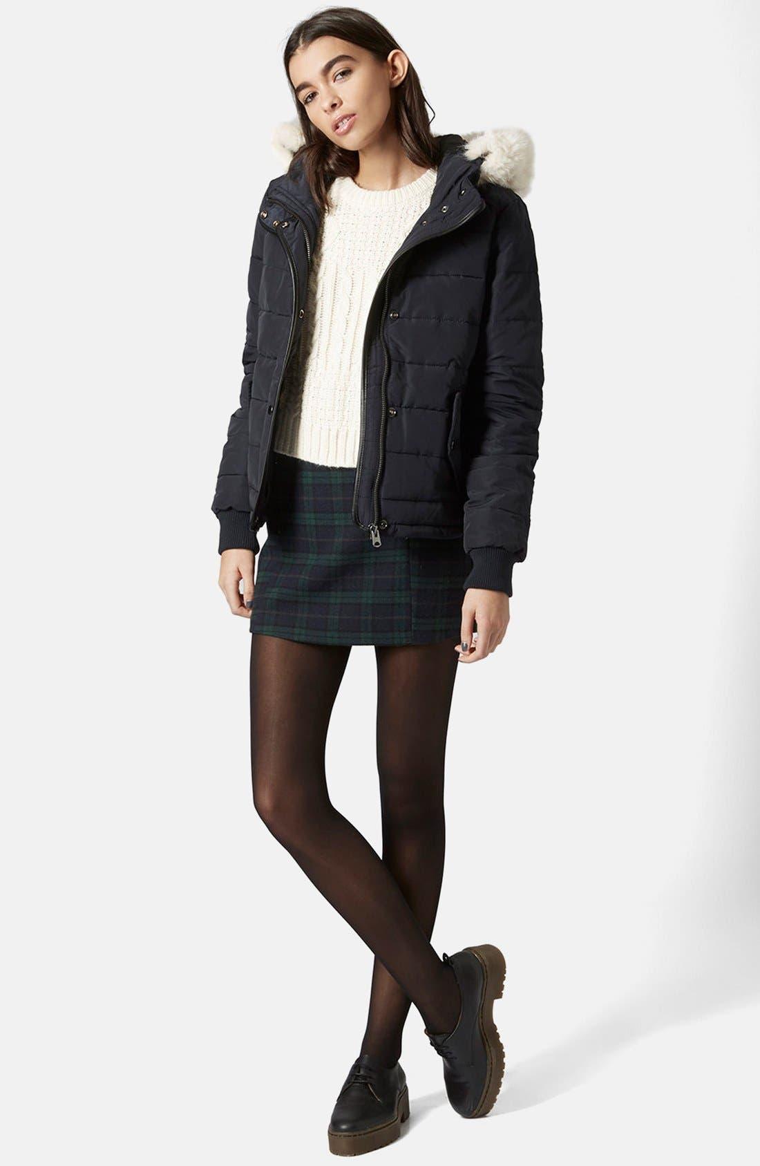 Alternate Image 5  - Topshop Faux Fur Trim Puffer Jacket