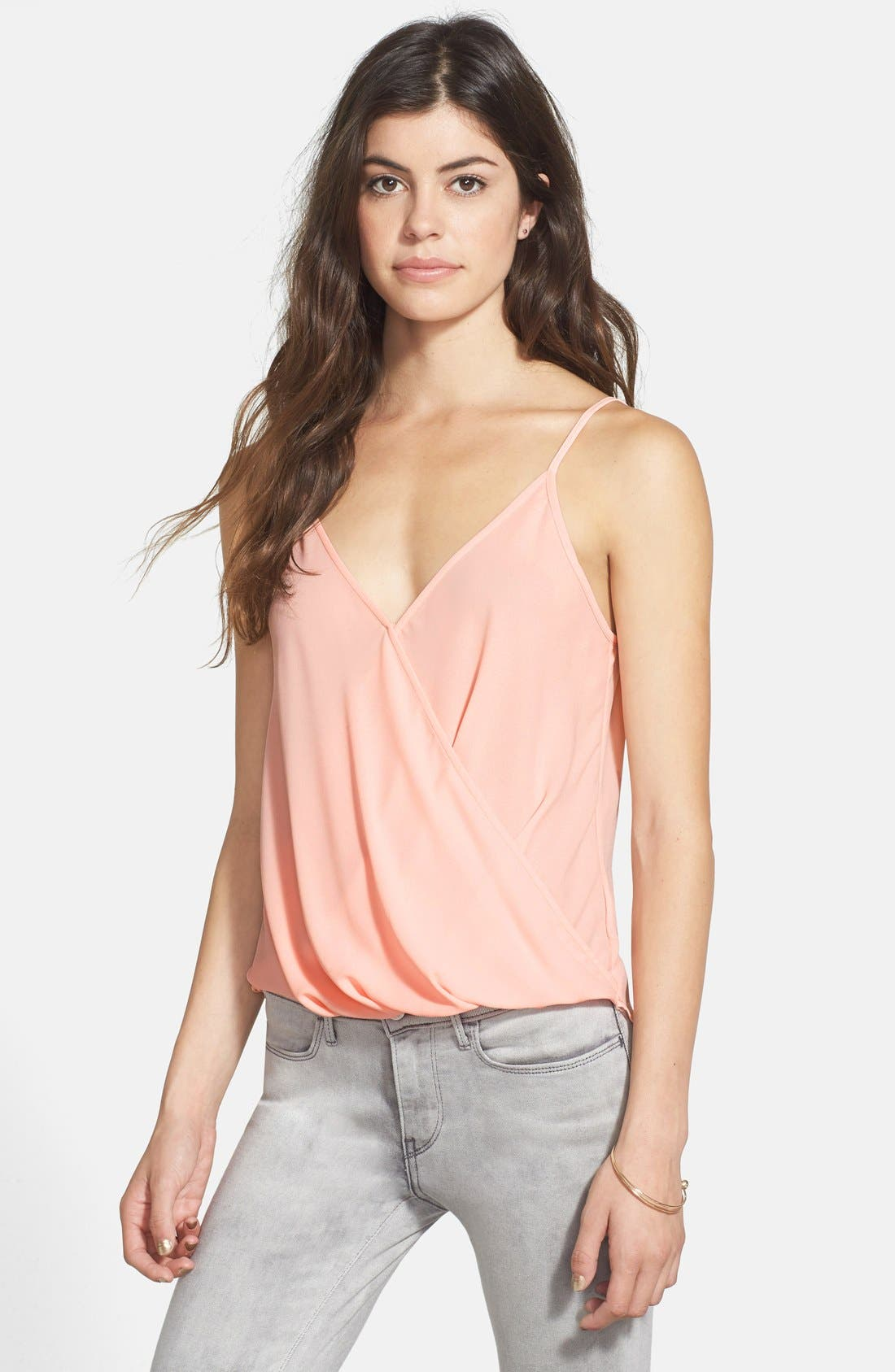 Alternate Image 1 Selected - Lush Faux Wrap Woven Camisole