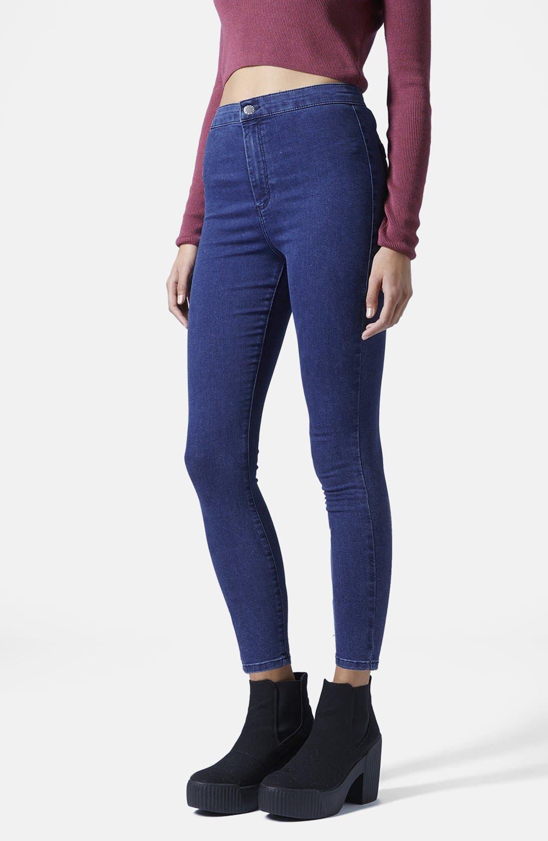 Alternate Image 1 Selected - Topshop Moto 'Joni' High Rise Skinny Jeans (Dark Stone)