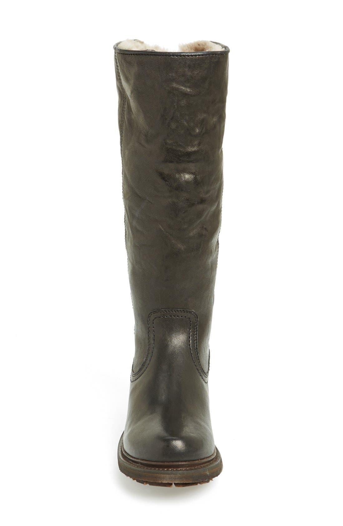 'Valerie' Pull On Shearling Boot,                             Alternate thumbnail 3, color,                             Black