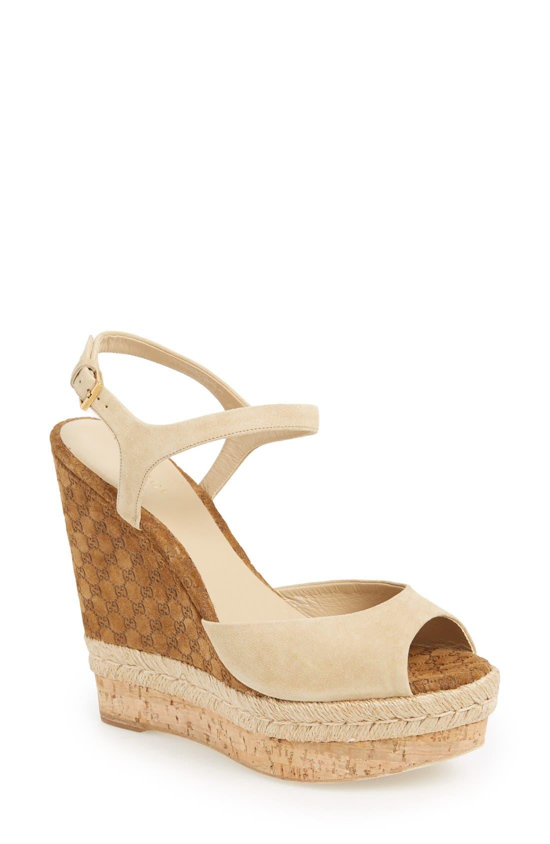 Alternate Image 1 Selected - Gucci 'Hollie' Wedge Sandal (Women)