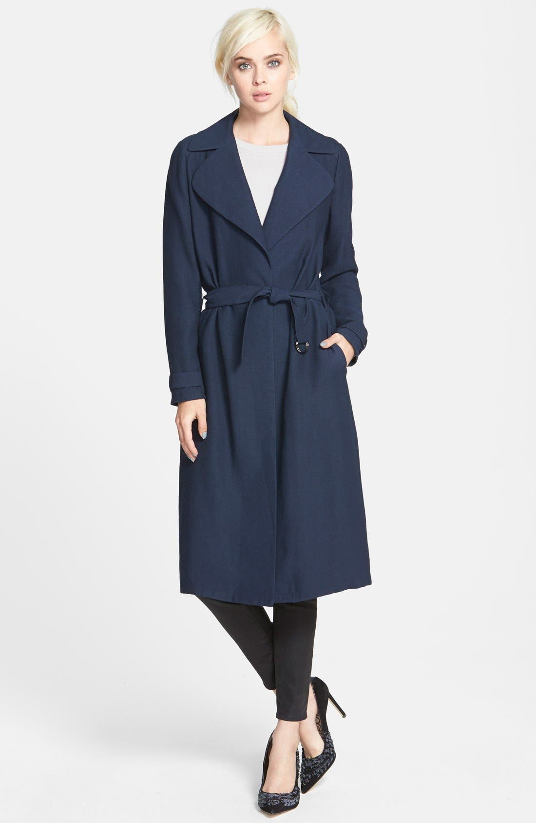 Alternate Image 1 Selected - Chelsea28 Belted Crepe Trench Coat