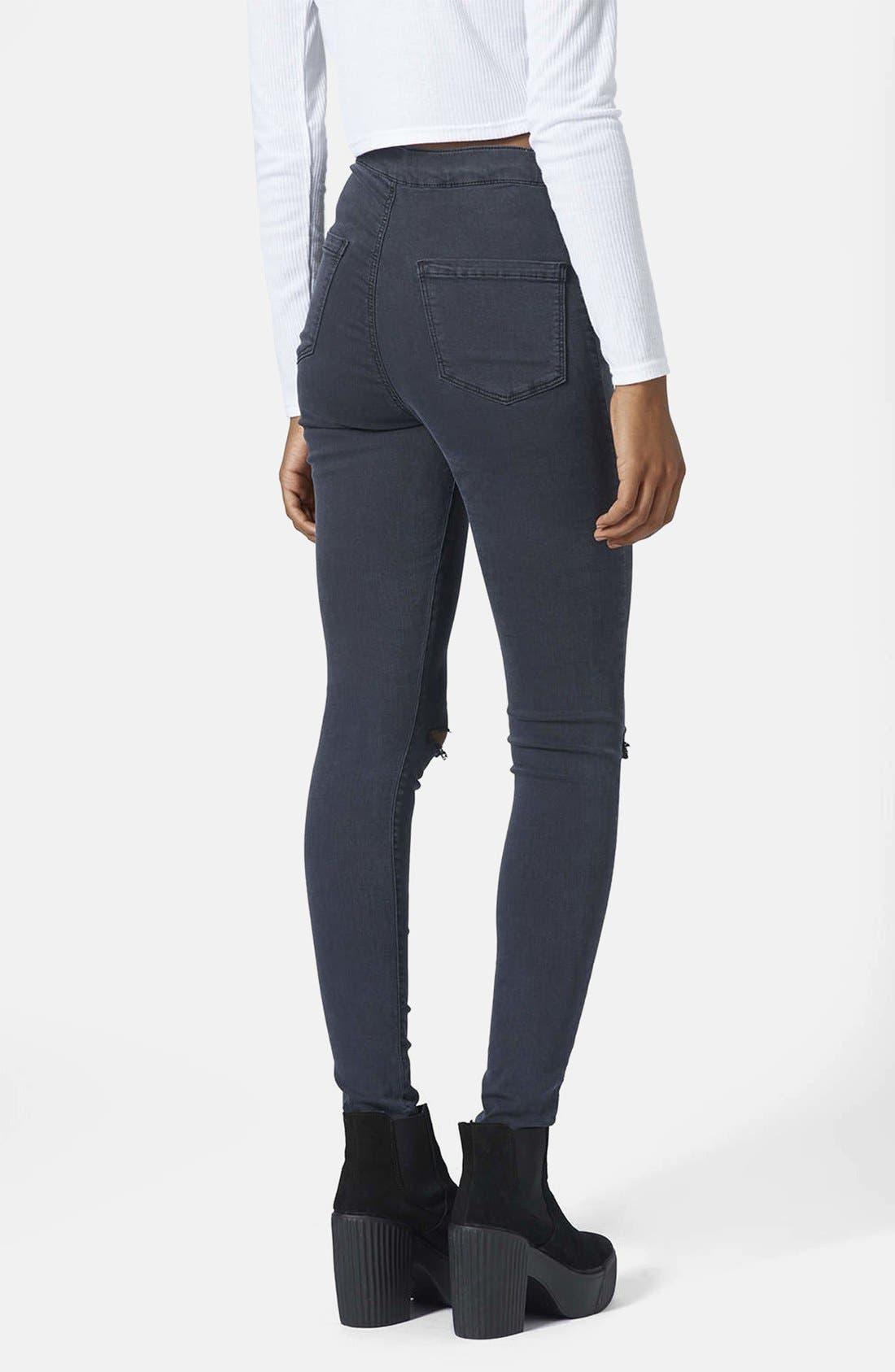 Alternate Image 2  - Topshop Moto 'Joni' Ripped Jeans (Blue) (Regular & Short)