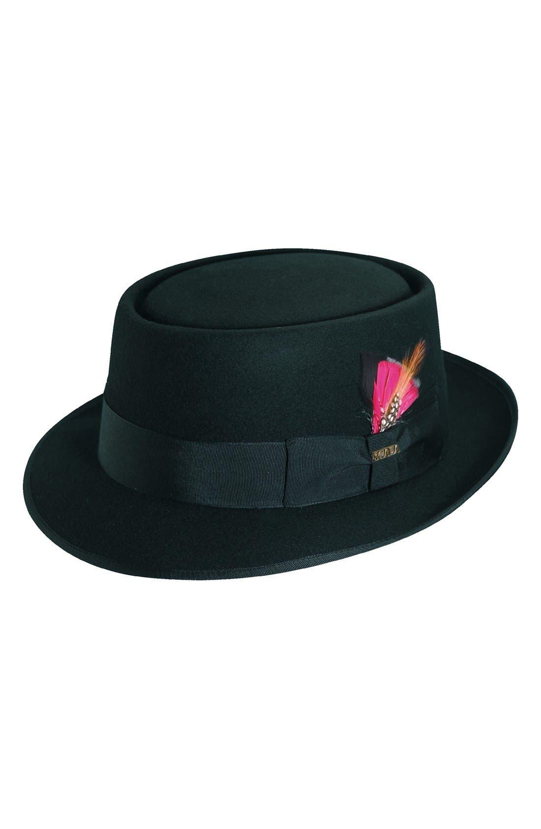 Wool Felt Porkpie Hat,                         Main,                         color, Black/ Red