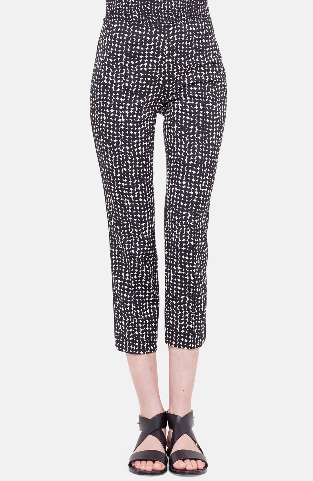 'Francella' Jacquard Crop Pants,                             Main thumbnail 1, color,                             Noir/ Creme