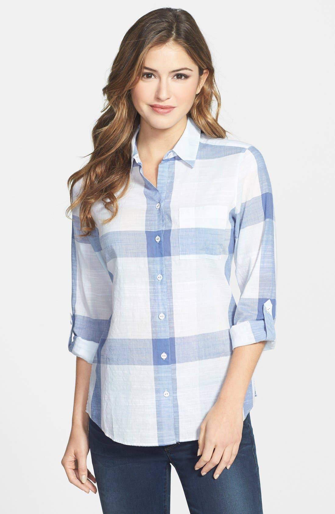 Alternate Image 1 Selected - Foxcroft Buffalo Check Cotton Shirt (Regular & Petite)