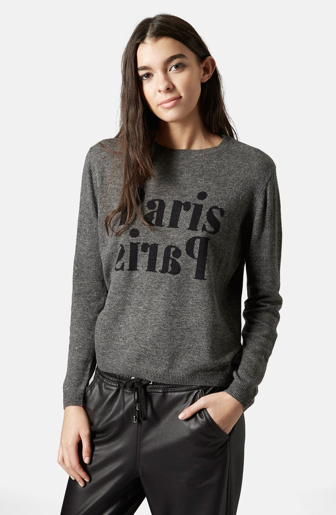 Alternate Image 1 Selected - Topshop 'Paris, Paris' Crewneck Sweater