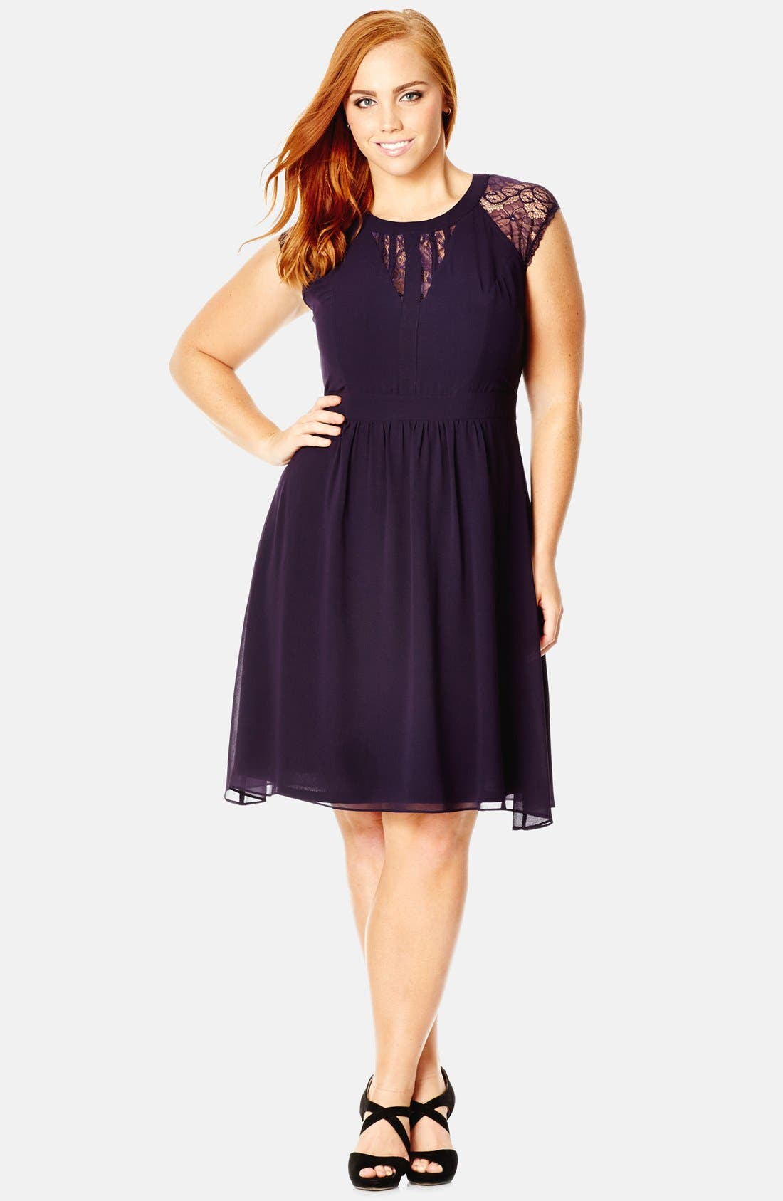 City Chic Dark Romance Lace Detail Dress (Plus Size)