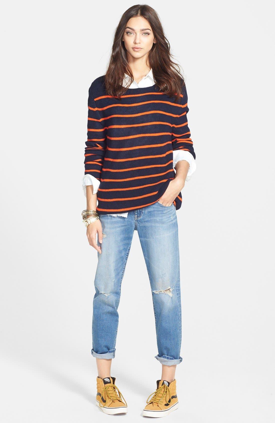 Treasure&Bond Oversize Stripe Tunic,                             Alternate thumbnail 4, color,                             Orange Cherry Morgan Stripe