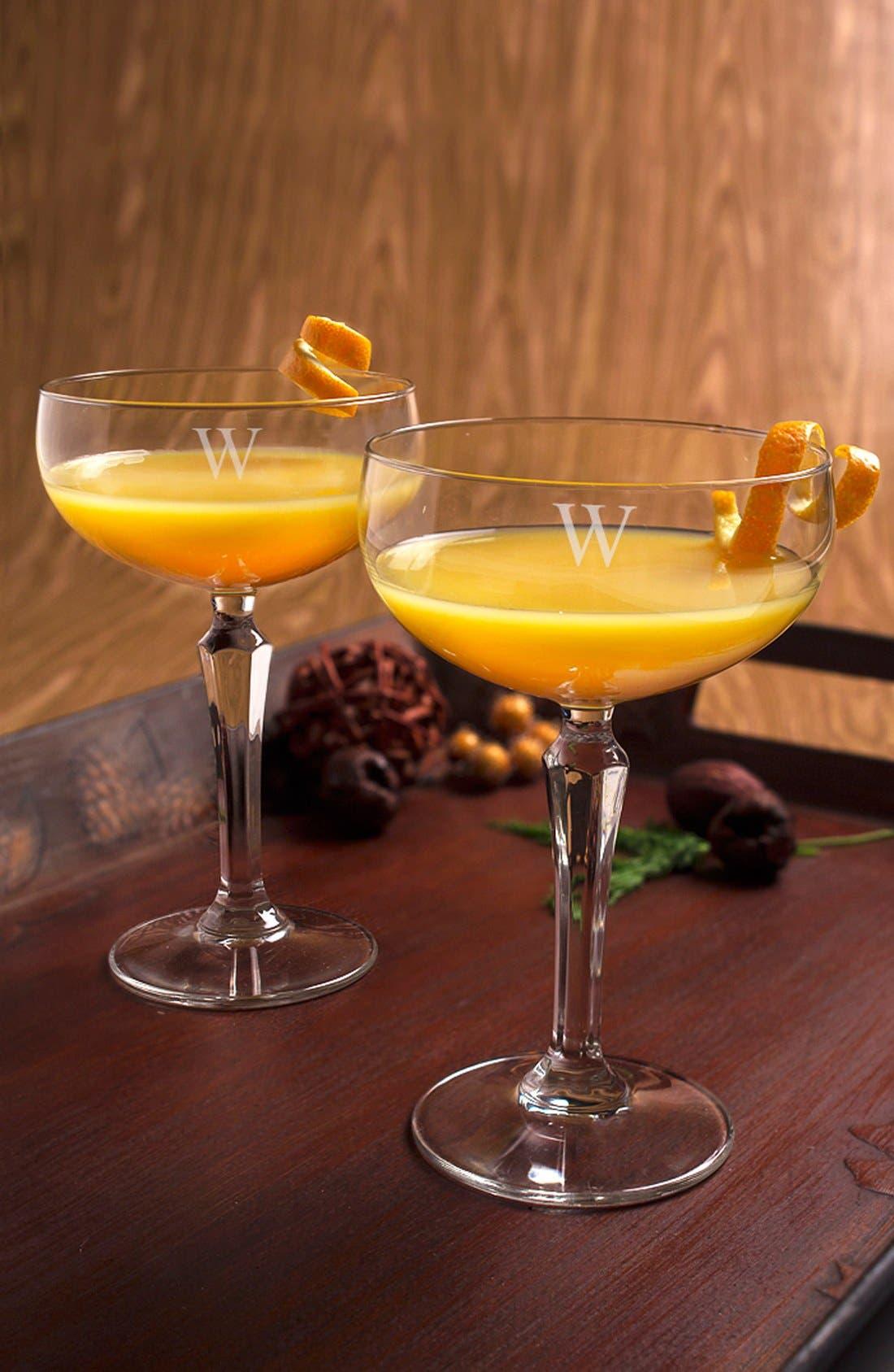 Monogram Coupe Cocktail/Champagne Glasses,                             Alternate thumbnail 4, color,