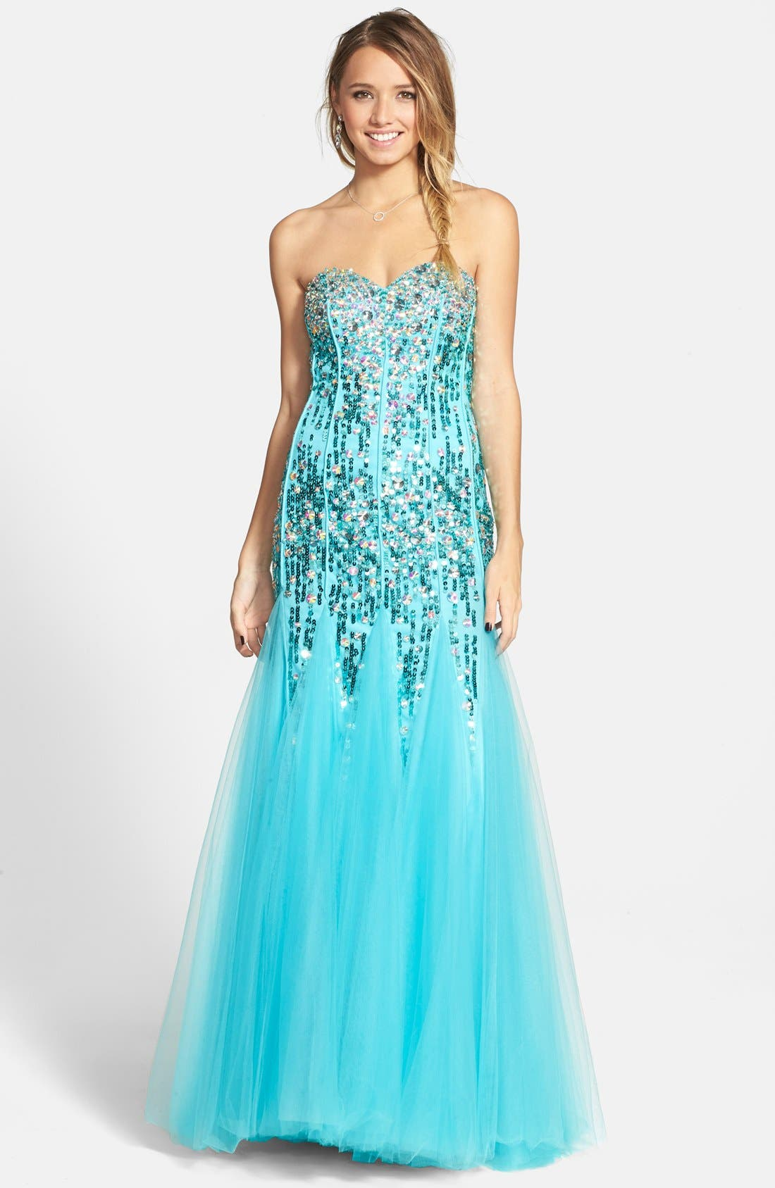 Main Image - Sean Collection Sequin & Tulle Strapless Gown