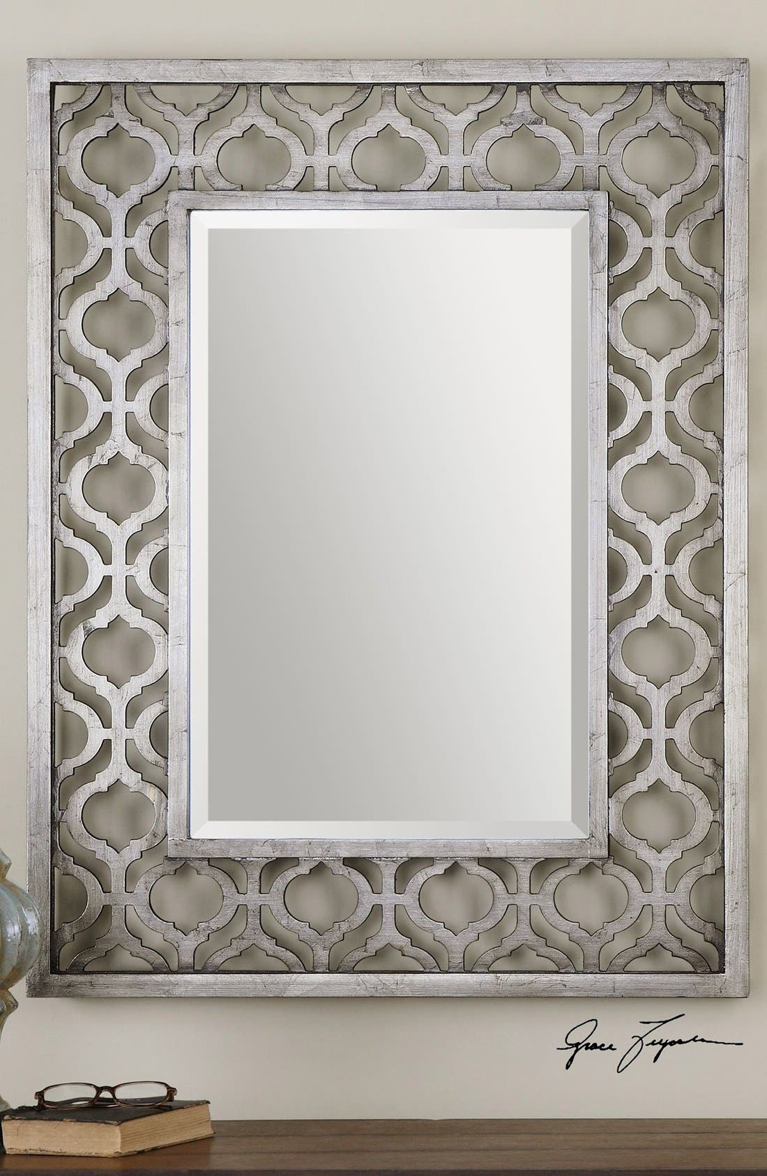 'Sorbolo' Silver Leaf Mirror,                             Alternate thumbnail 3, color,                             Silver