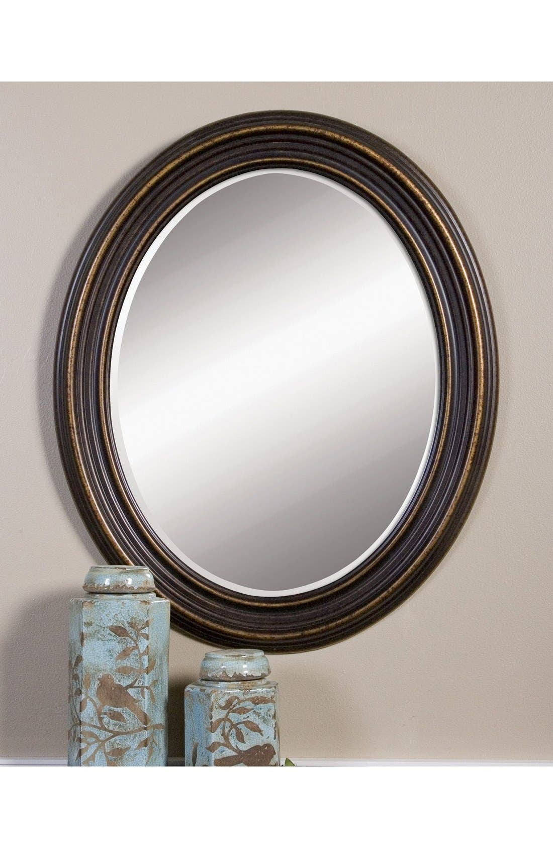 'Ovesca' Oval Mirror,                             Alternate thumbnail 3, color,                             Black