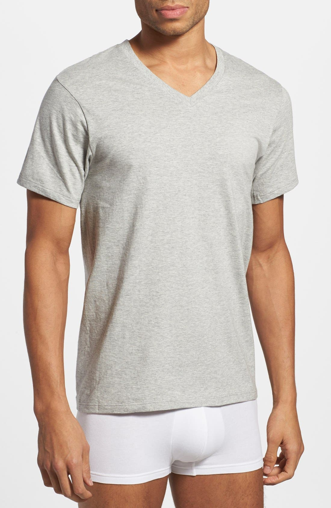Assorted 3-Pack Classic Fit Cotton V-Neck T-Shirt,                             Alternate thumbnail 2, color,                             Heather Grey/ White/ Black