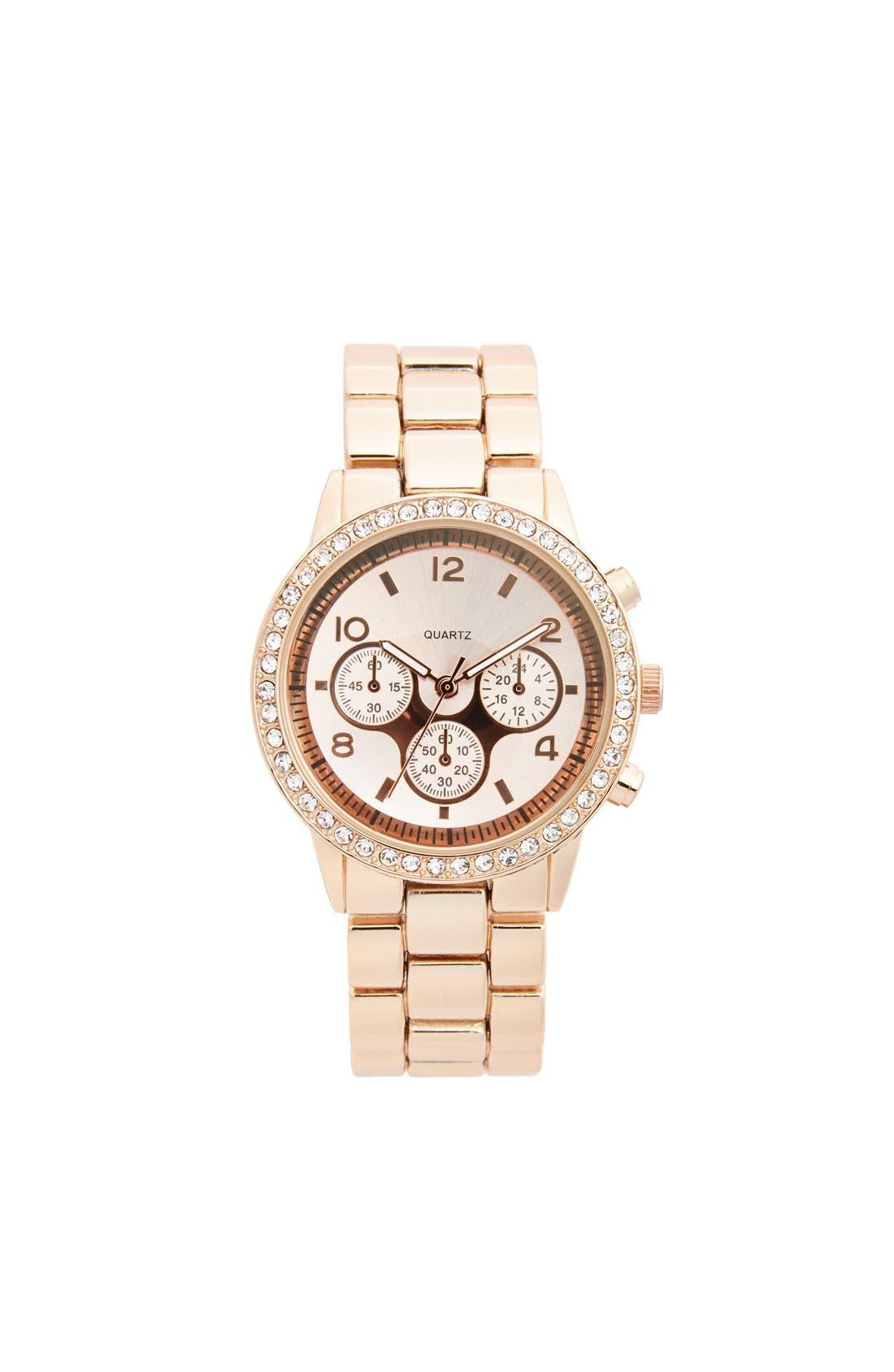 Alternate Image 1 Selected - Titanium Rhinestone Bracelet Watch, 45mm (Online Only)
