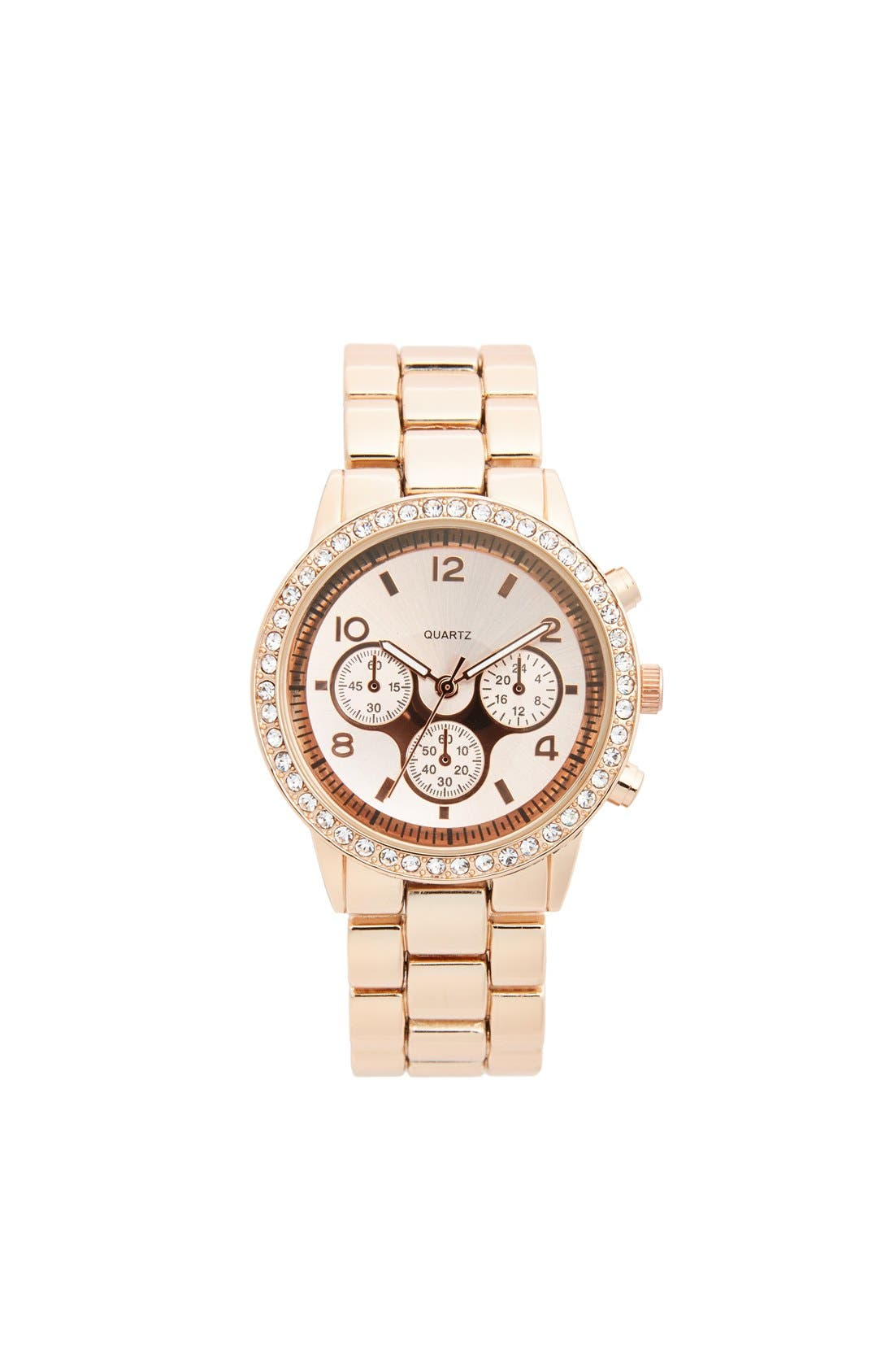 Main Image - Titanium Rhinestone Bracelet Watch, 45mm (Online Only)