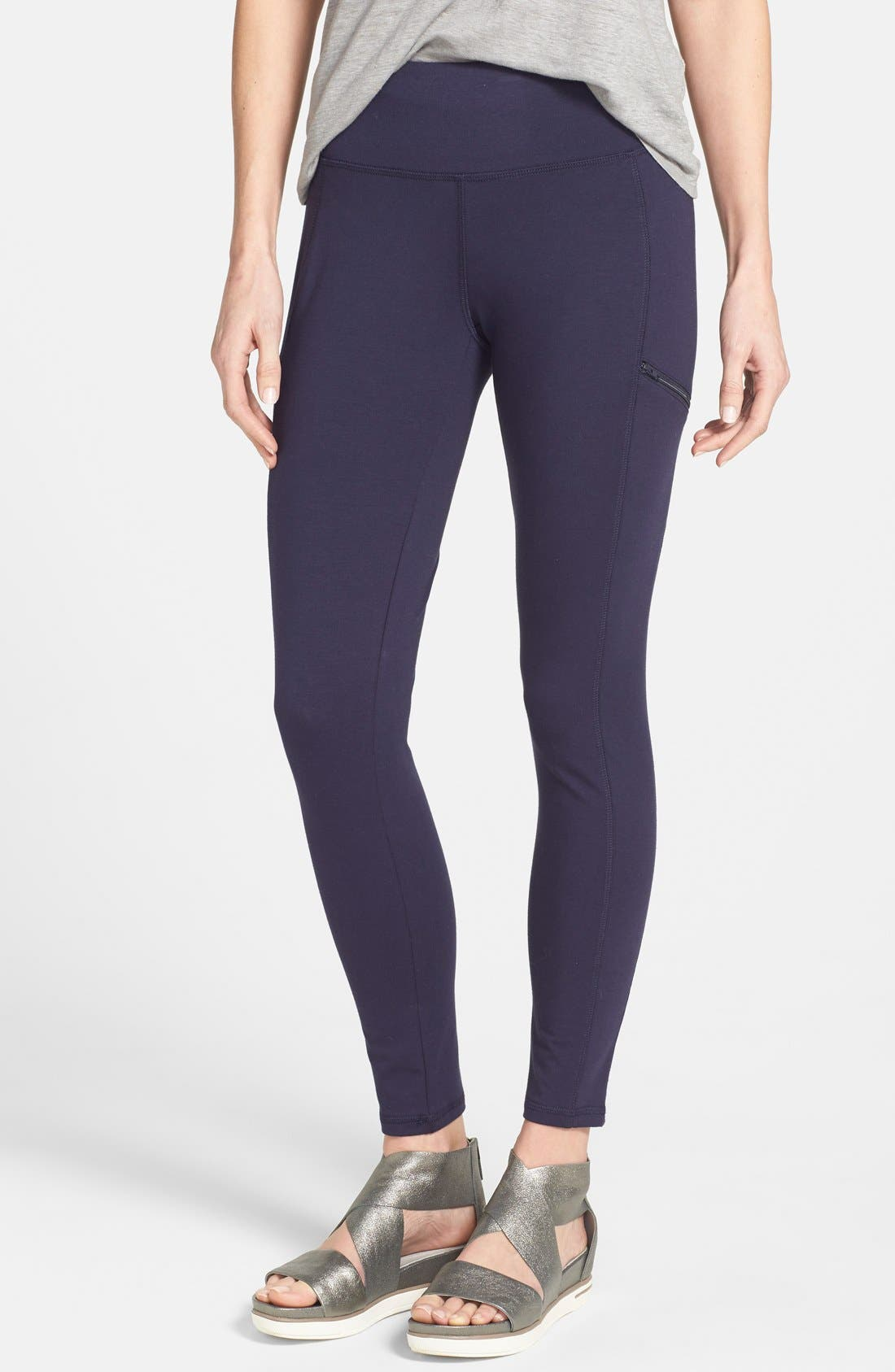 Stretch Knit Skinny Pants,                             Main thumbnail 1, color,                             Midnight