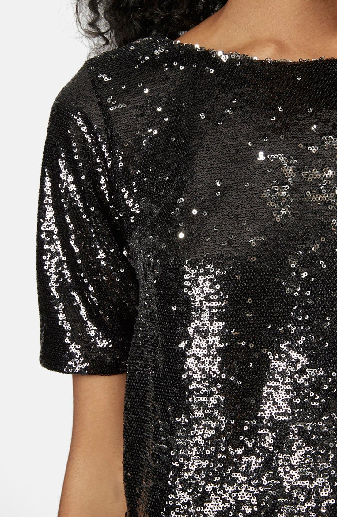 Alternate Image 4  - Topshop Two Tone Sequin Tee
