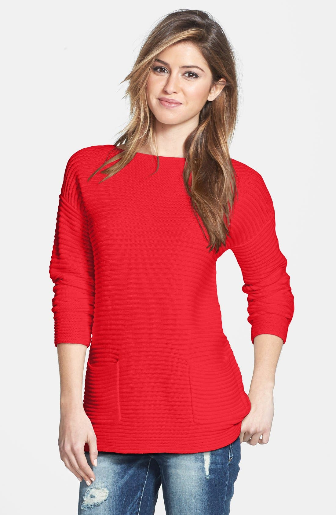 Boatneck Sweater,                         Main,                         color, Cherry