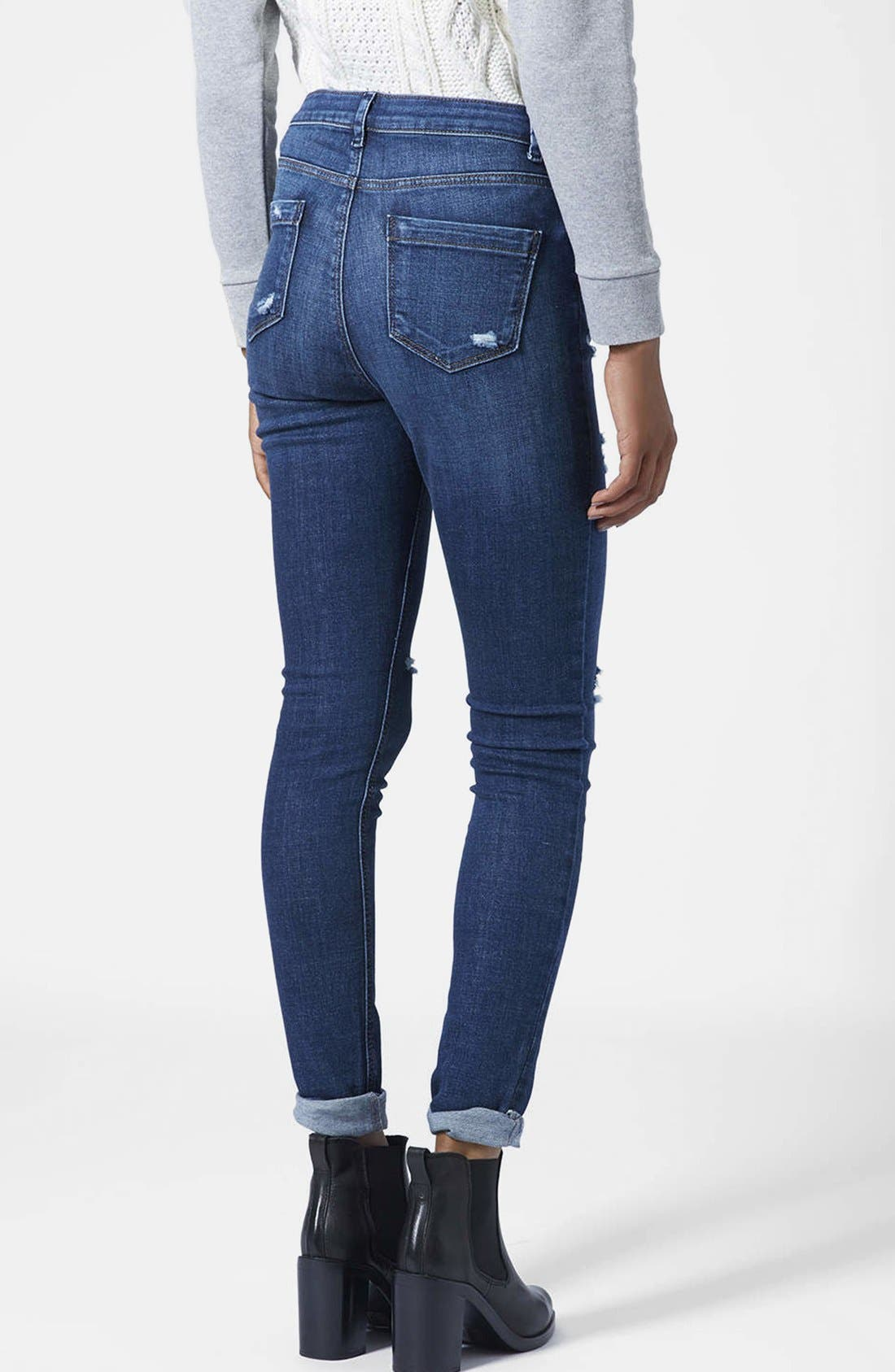 Moto Ripped Skinny Jeans,                             Alternate thumbnail 2, color,                             Dark Denim