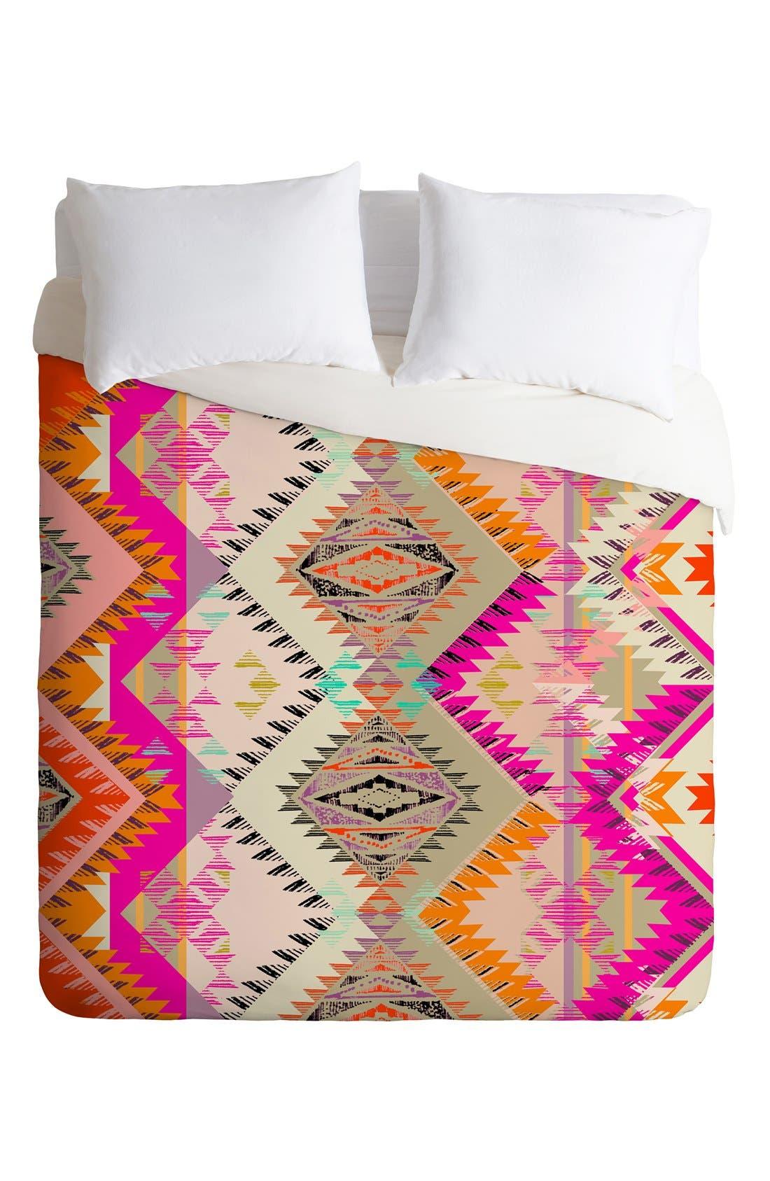 Pattern State Marker Sun Duvet Cover & Sham Set,                             Alternate thumbnail 3, color,                             Pink