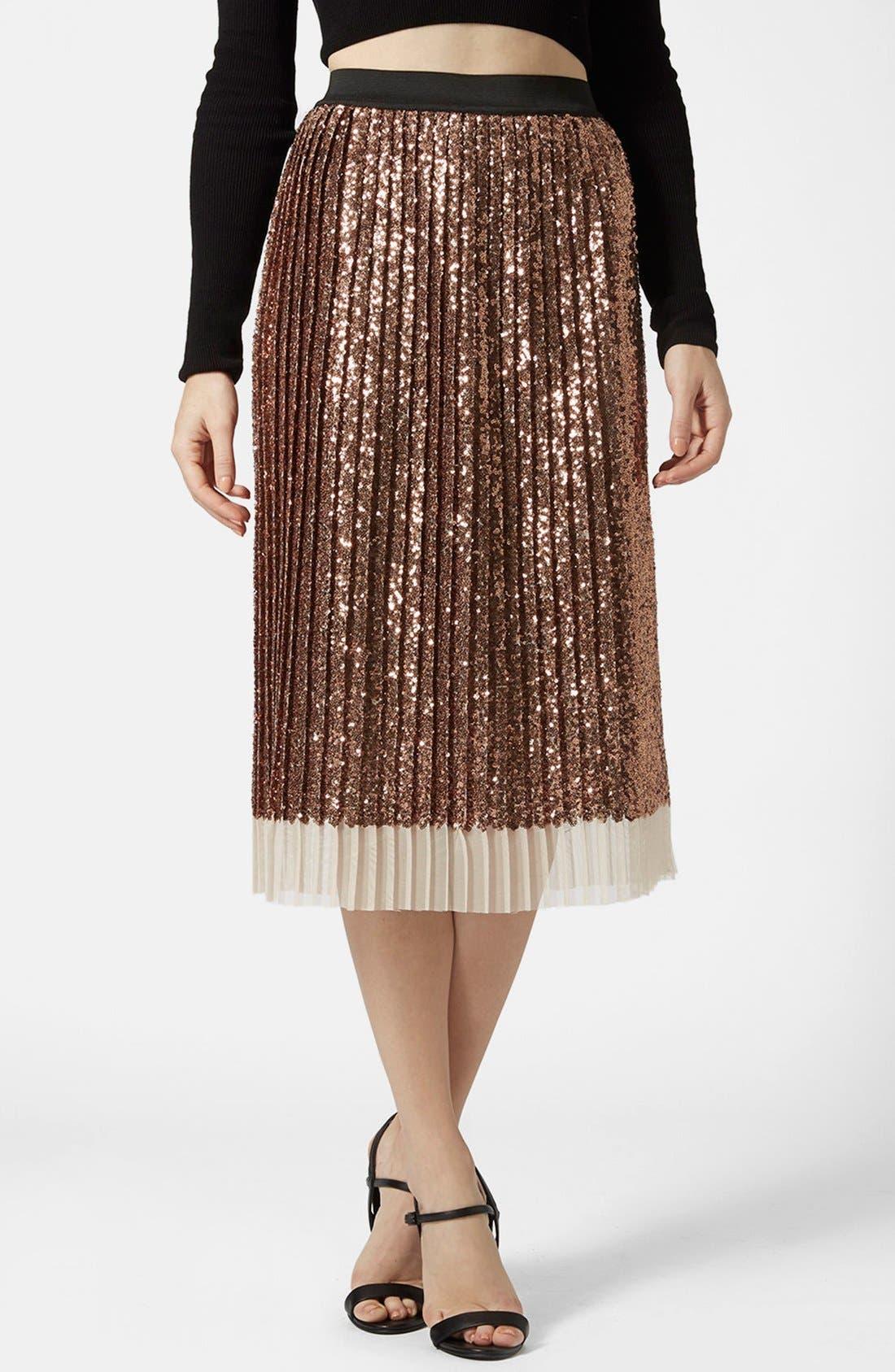Main Image - Topshop Sequin Pleated Midi Skirt