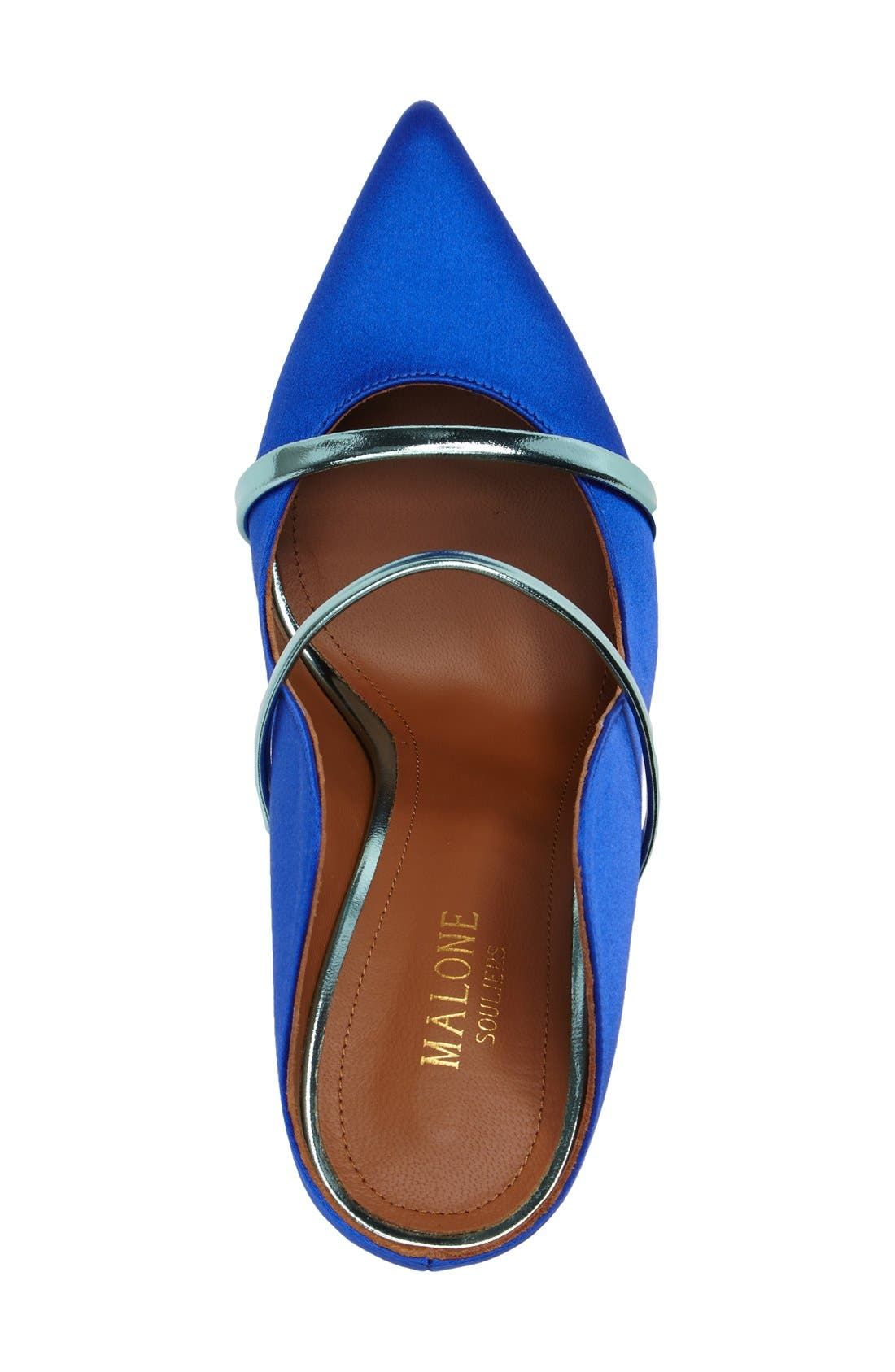 'Maureen' Pointy Toe Mule,                             Alternate thumbnail 3, color,                             Blue Satin