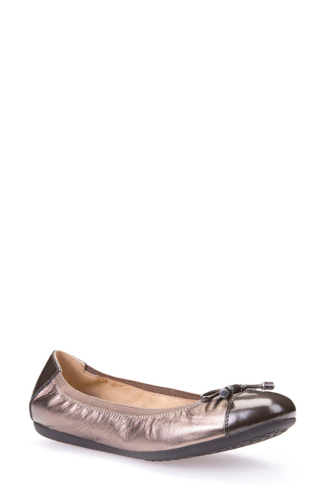 Lola Fit Cap Toe Ballet Flat,                         Main,                         color, Gunmetal Metallic Leather