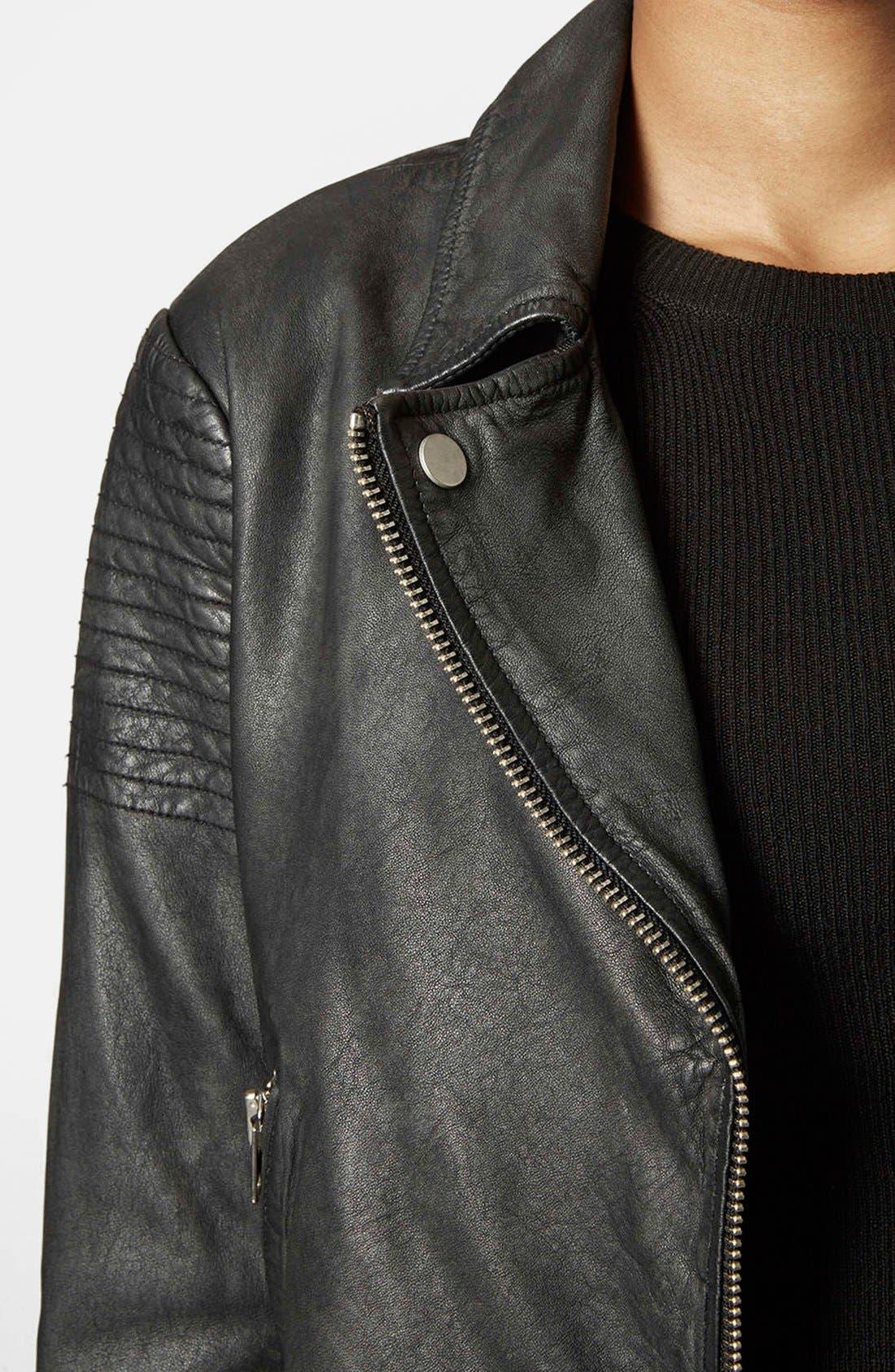Alternate Image 4  - Topshop Sheepskin Leather Biker Jacket