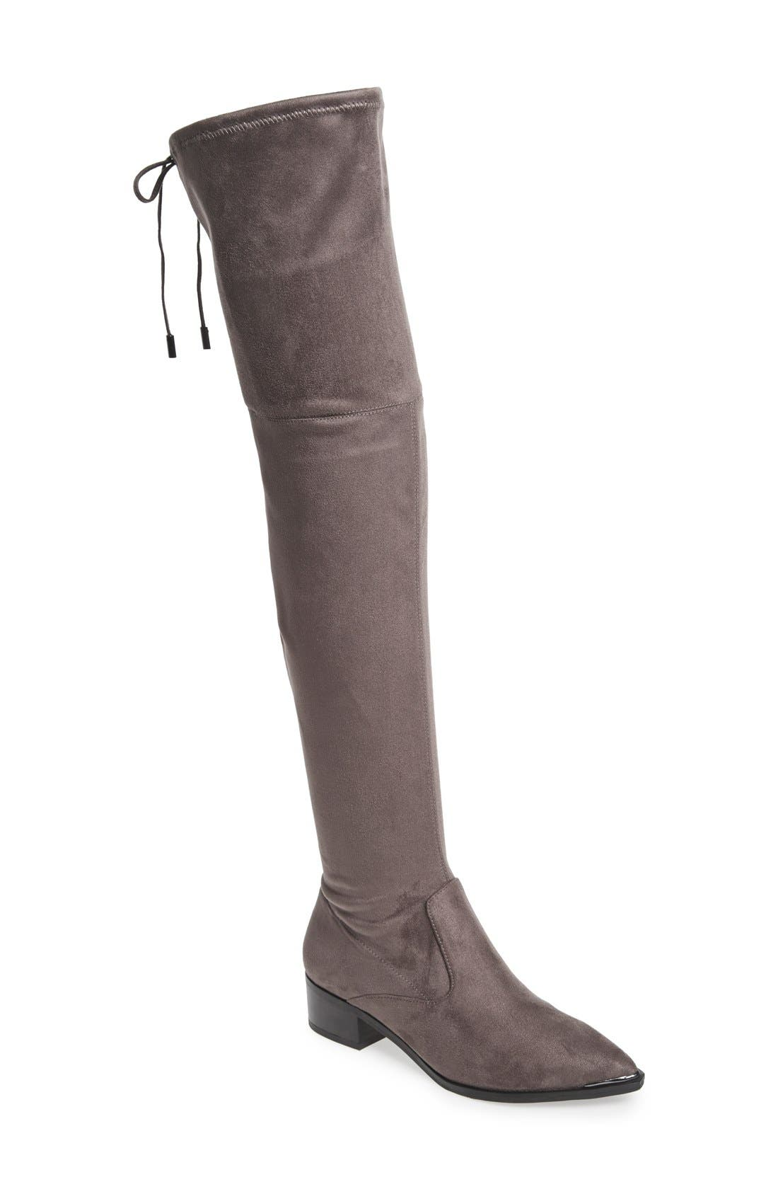 Yenna Over the Knee Boot,                         Main,                         color, Grey Stretch Fabric
