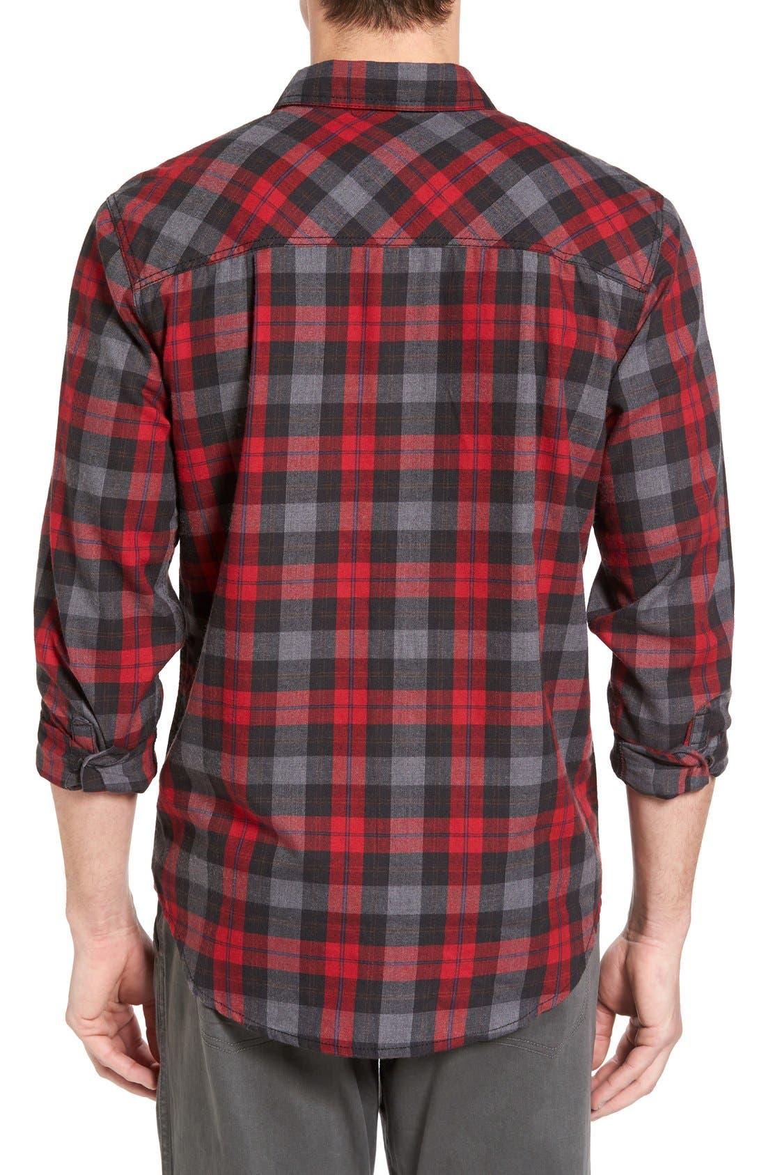 Burner Regular Fit Plaid Flannel Shirt,                             Alternate thumbnail 2, color,                             Fiery Red