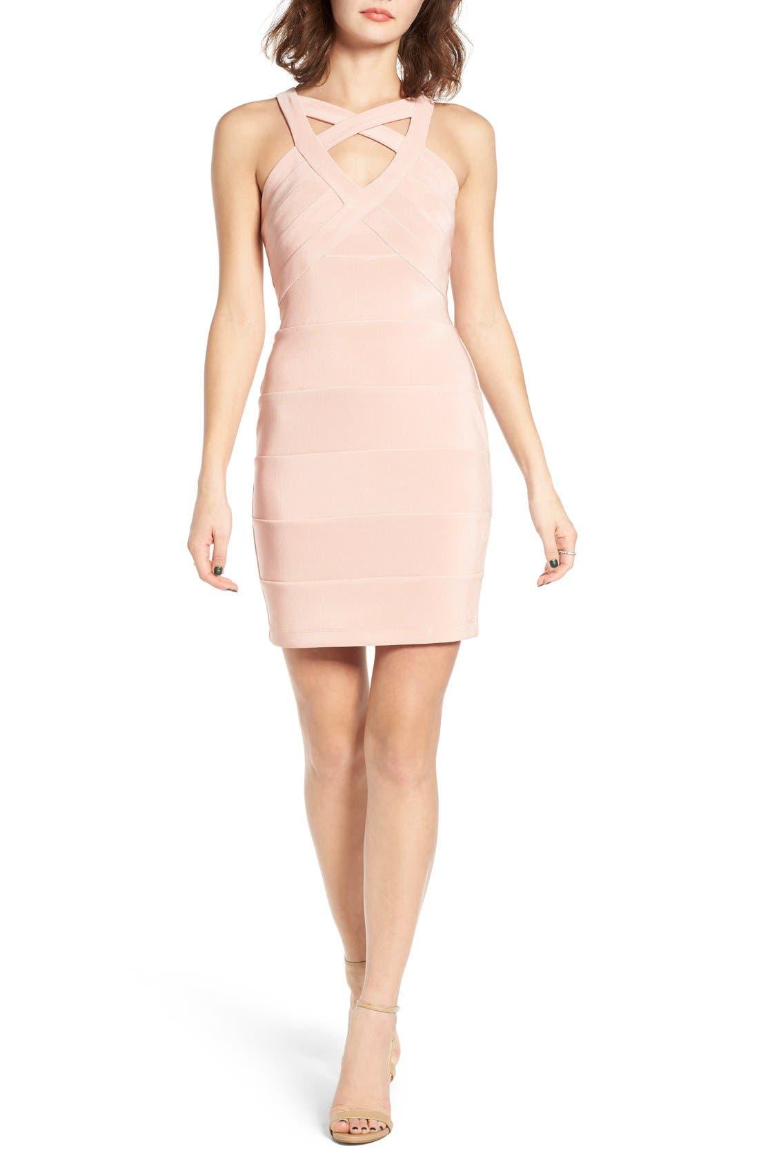 Cross Front Body-Con Dress,                             Main thumbnail 1, color,                             Mauve