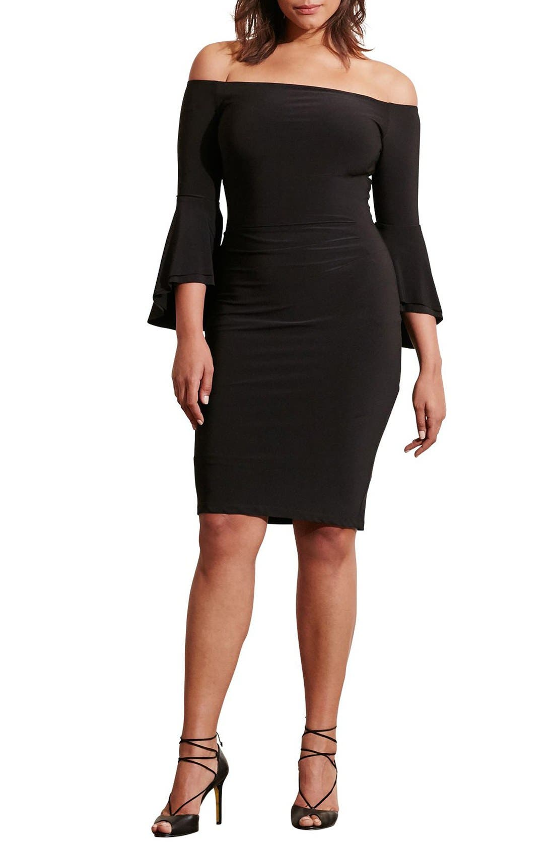 Off the Shoulder Jersey Sheath Dress,                             Alternate thumbnail 3, color,                             Black