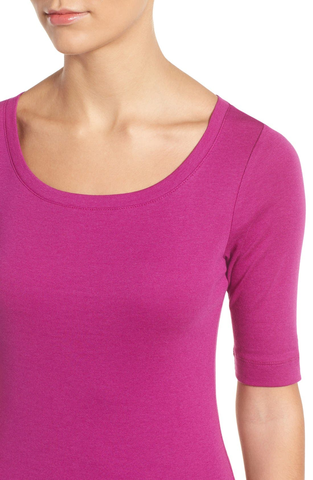 Ballet Neck Cotton & Modal Knit Elbow Sleeve Tee,                             Alternate thumbnail 5, color,                             Purple Vintner