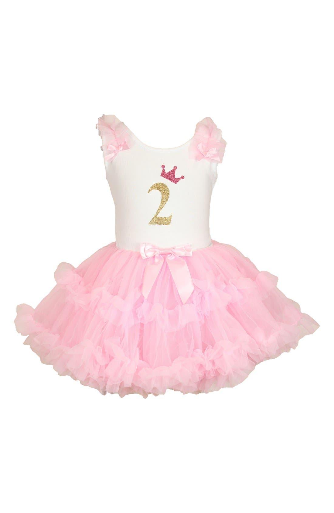 Popatu Birthday Print Tutu Dress (Toddler Girls)