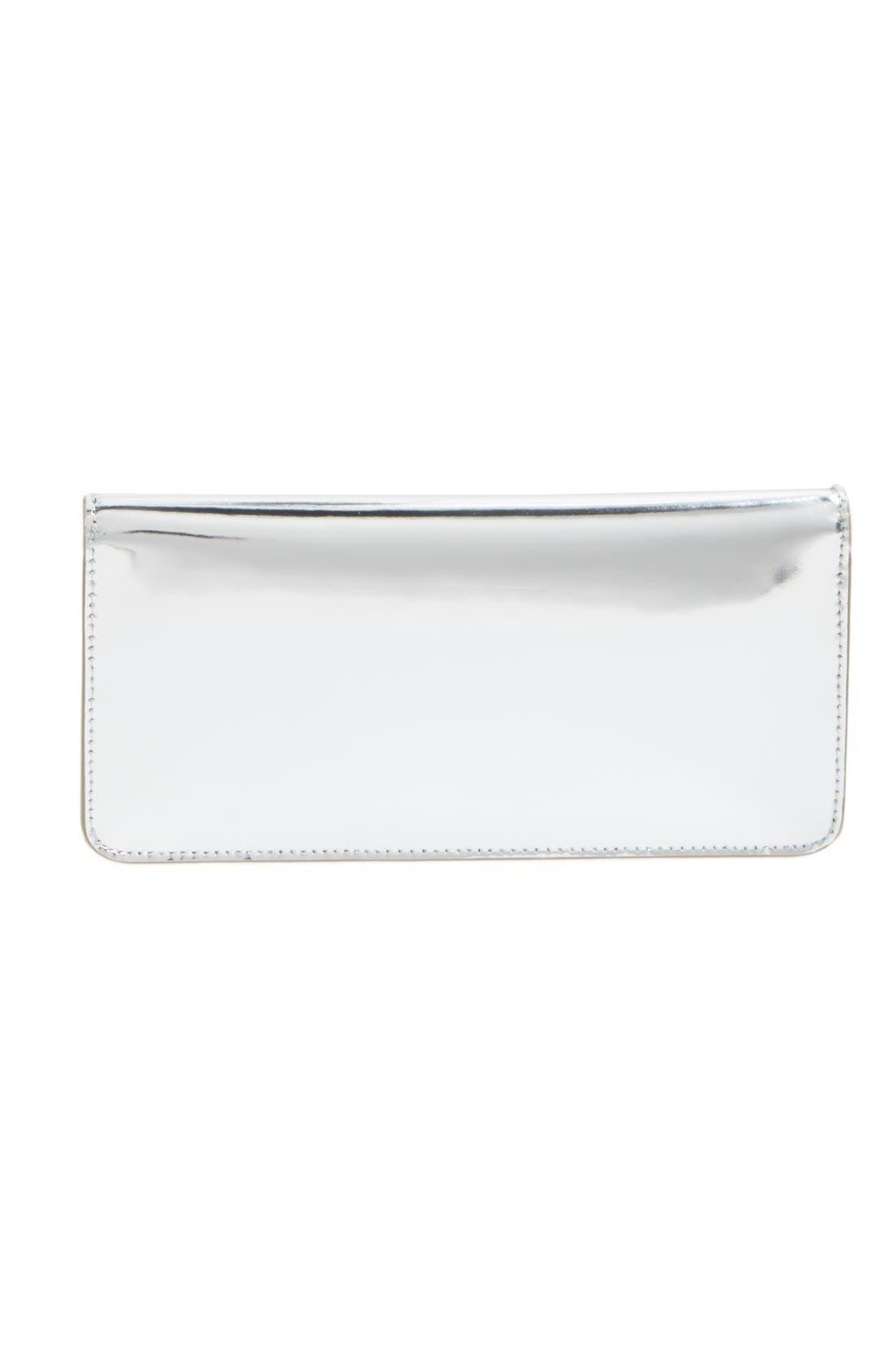 Gigi Metallic Leather Clutch,                             Alternate thumbnail 3, color,                             Silver Leather Standard