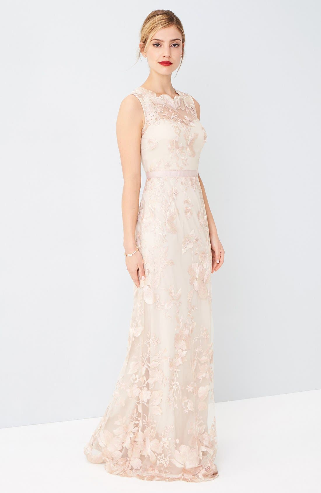 Alternate Image 6  - Adrianna Papell Sleeveless Embroidered Tulle Gown