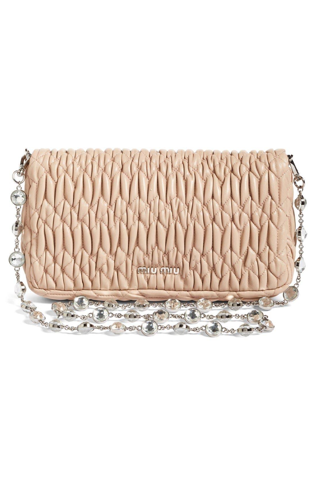 Small Crystal Embellished Nappa Shoulder Bag,                             Alternate thumbnail 3, color,                             Cammeo