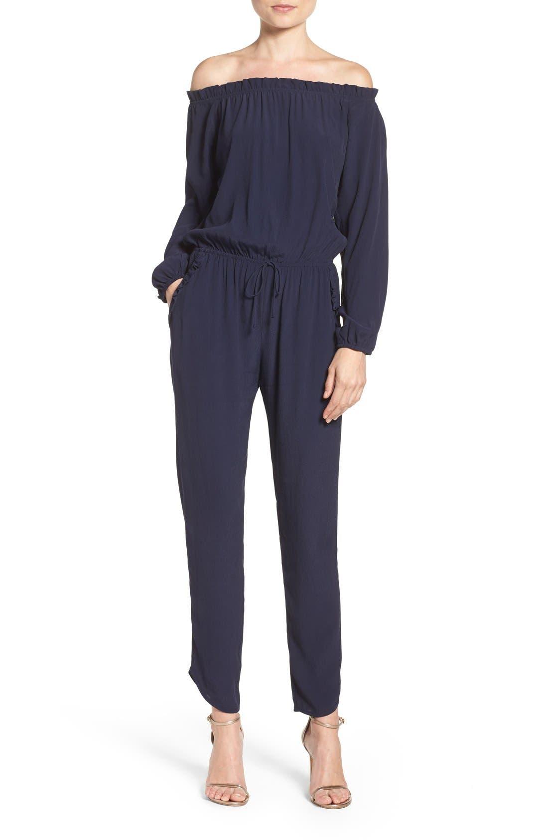 Off the Shoulder Jumpsuit,                         Main,                         color, Navy
