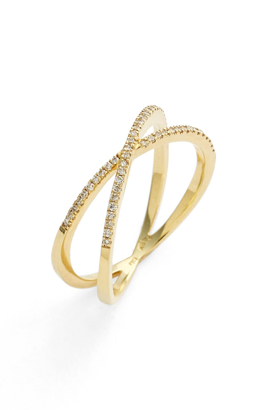 Stackable Crossover Diamond Ring,                         Main,                         color, Yellow Gold