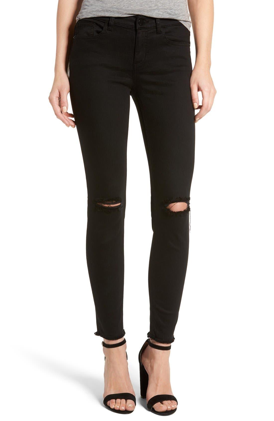 Alternate Image 1 Selected - SP Black Slit Knee Skinny Jeans