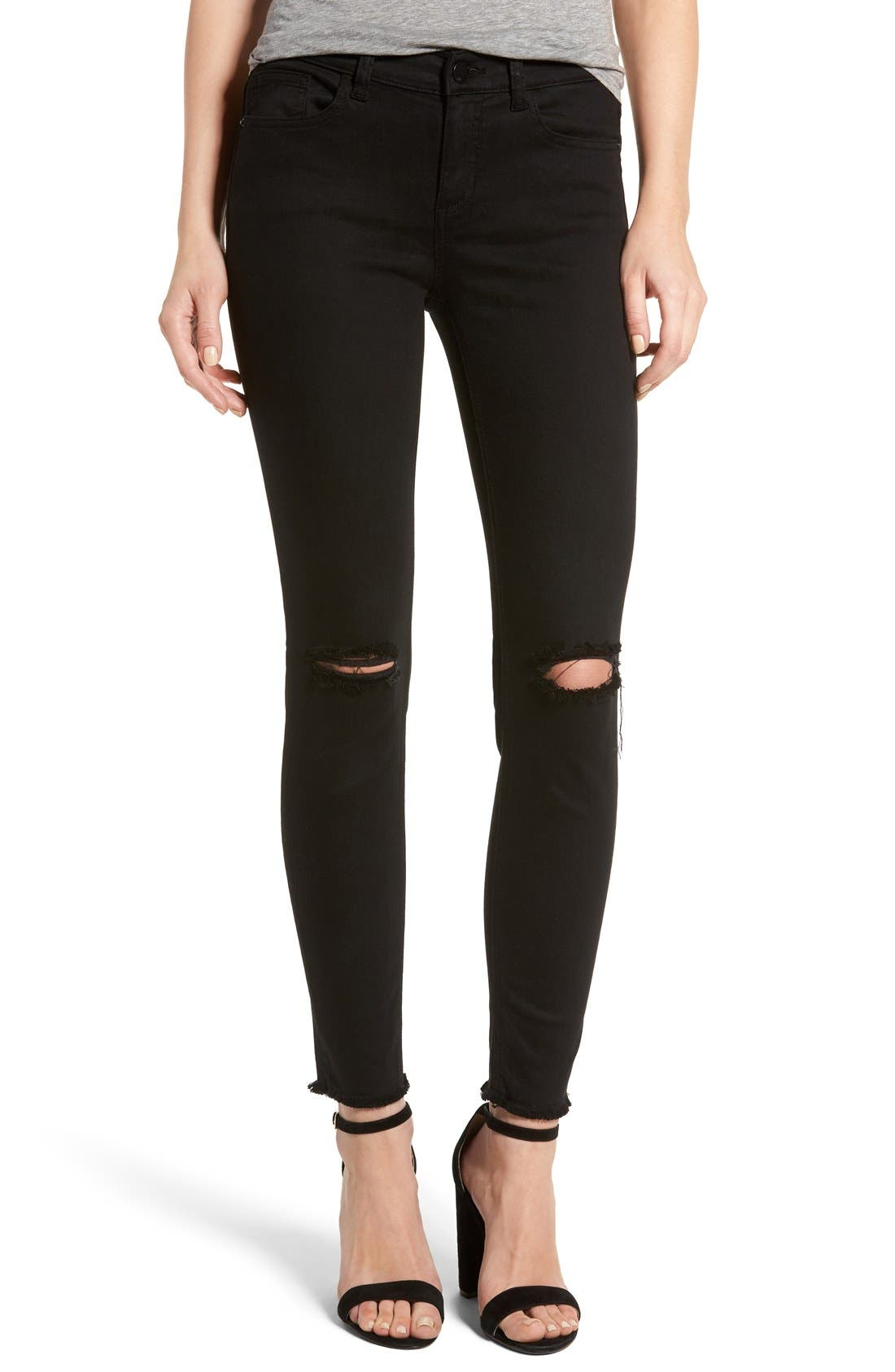 Main Image - SP Black Slit Knee Skinny Jeans