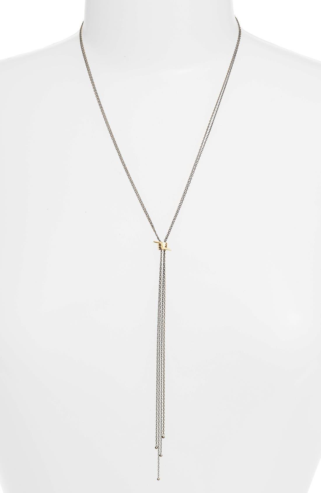 Topanga Lariat Necklace,                         Main,                         color, Gunmetal/ Gold