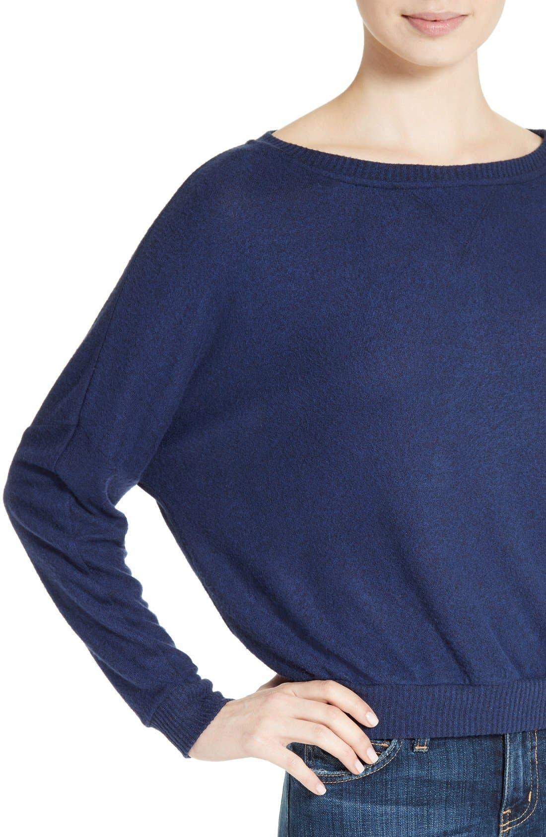 Soft Joie Giardia Drop Shoulder Sweater,                             Alternate thumbnail 4, color,                             Peacoat