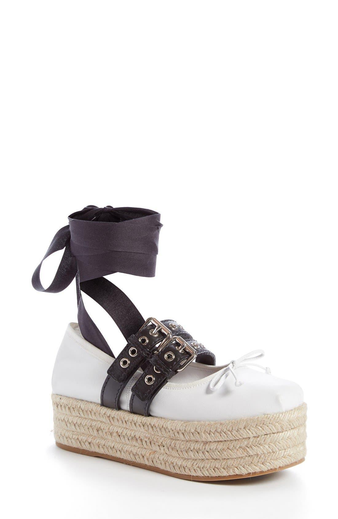 Miu Miu Ankle Wrap Platform Espadrille (Women)