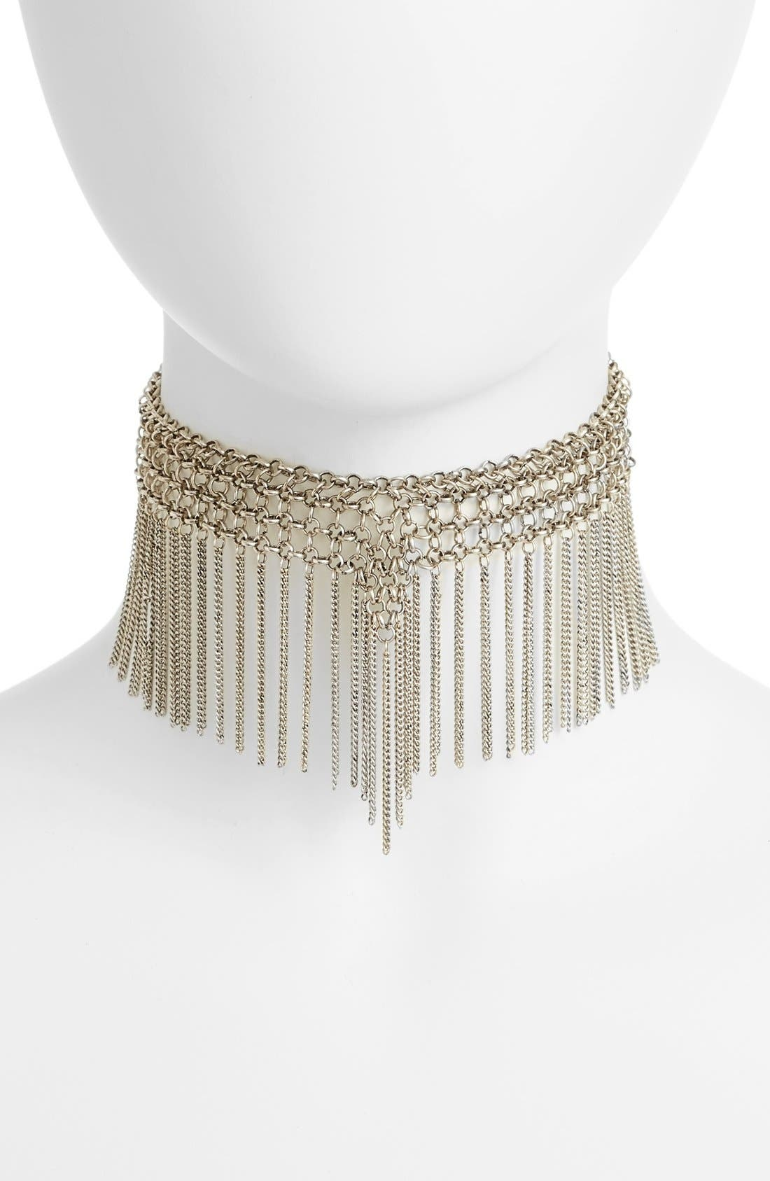 Chain Fringe Choker,                         Main,                         color, Silver