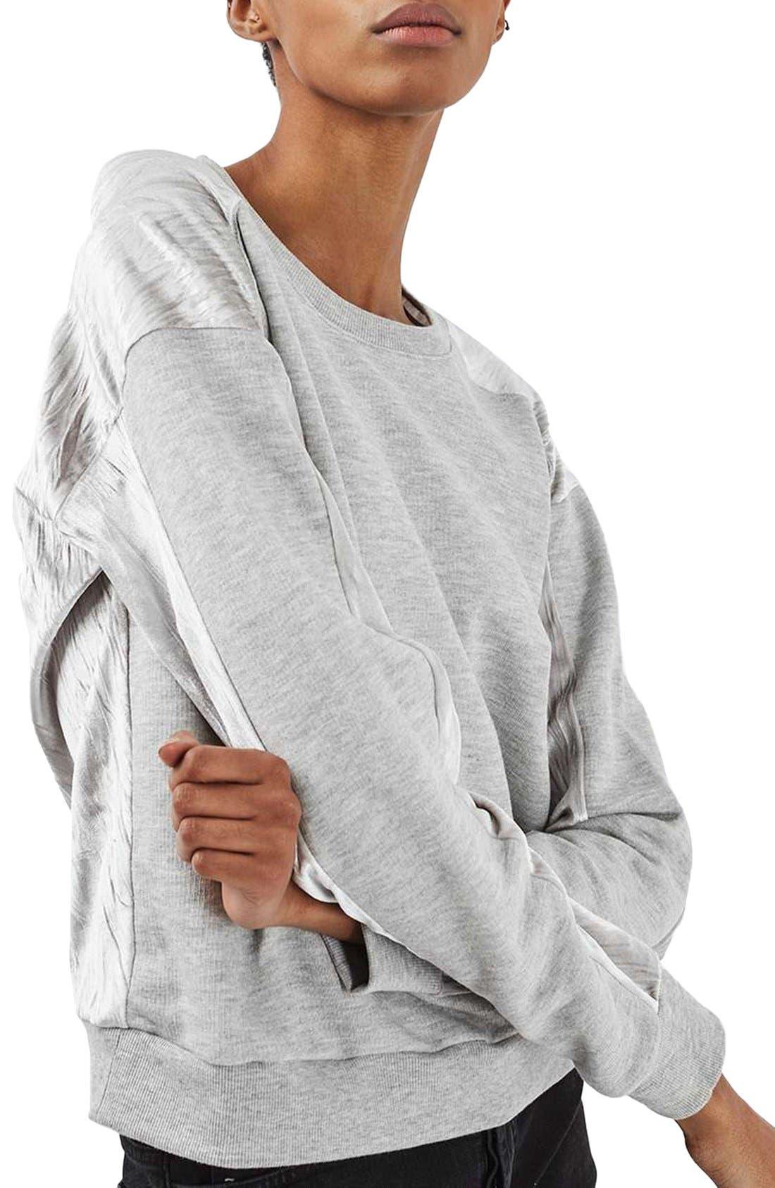 Main Image - Topshop Crinkle Velvet Back Pullover