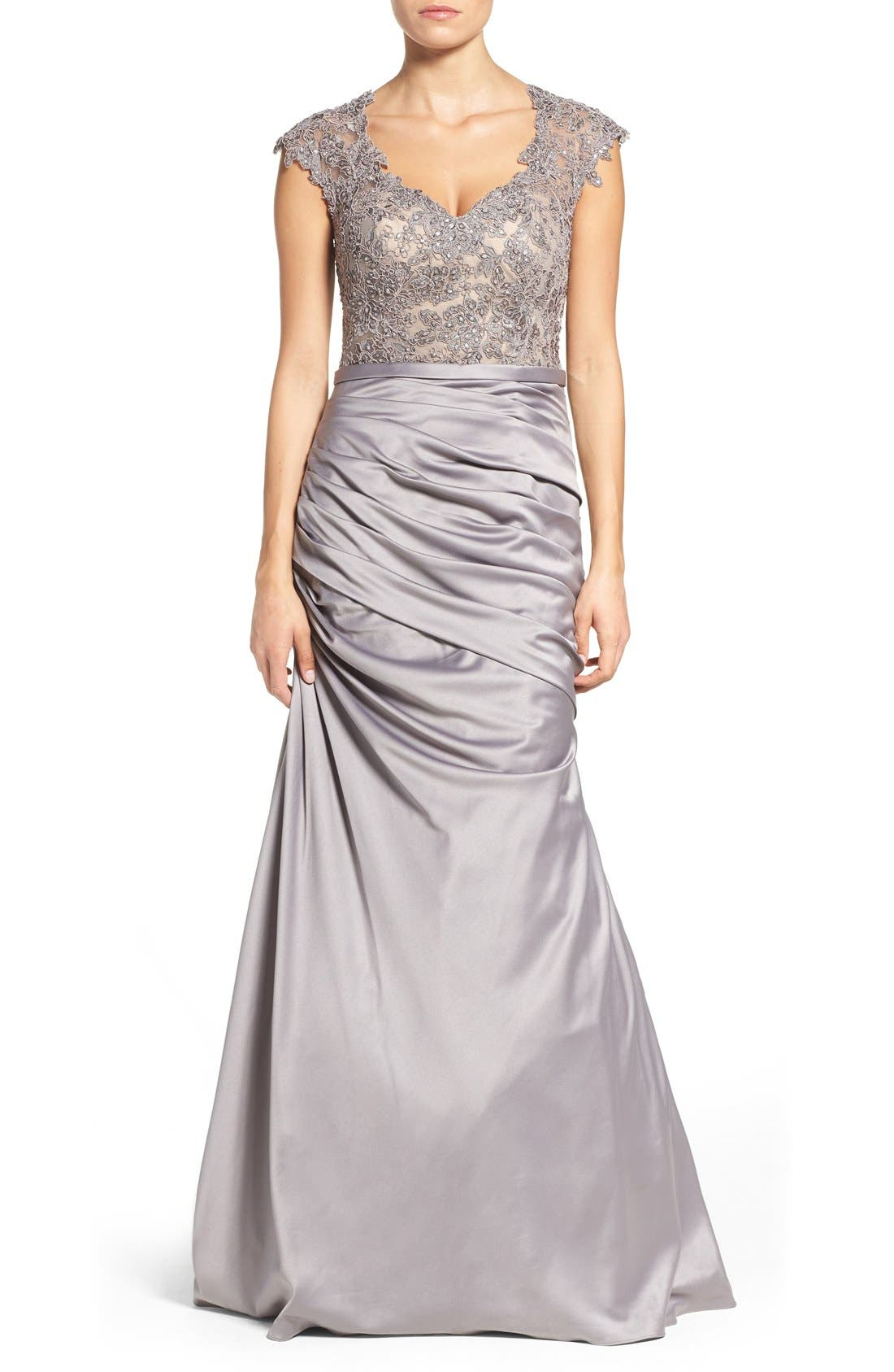 Embellished Lace & Satin Mermaid Gown,                             Main thumbnail 1, color,                             Silver