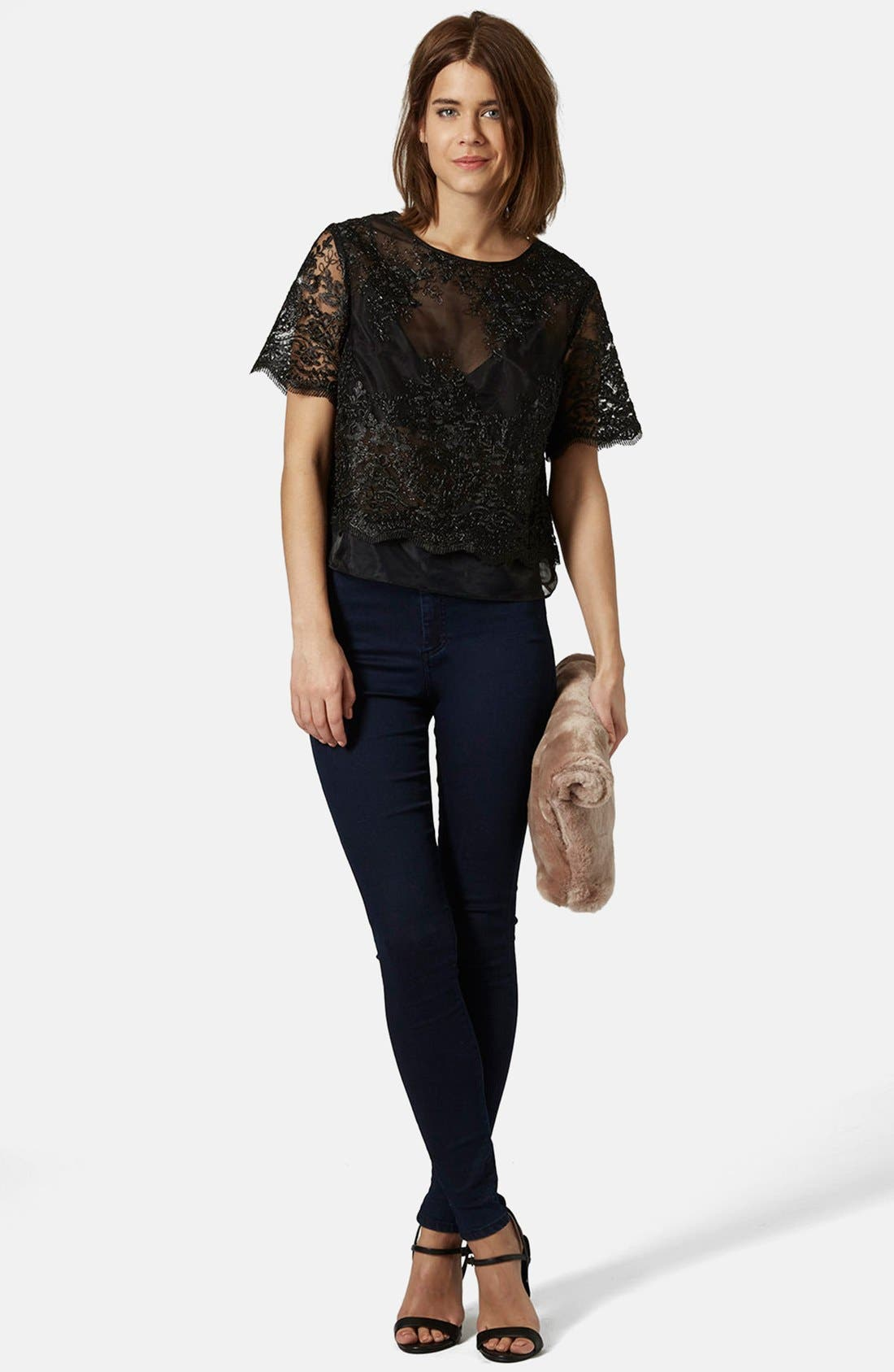 Alternate Image 5  - Topshop Lace Overlay Tee